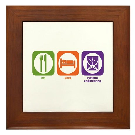 Eat Sleep Systems Engineering Framed Tile