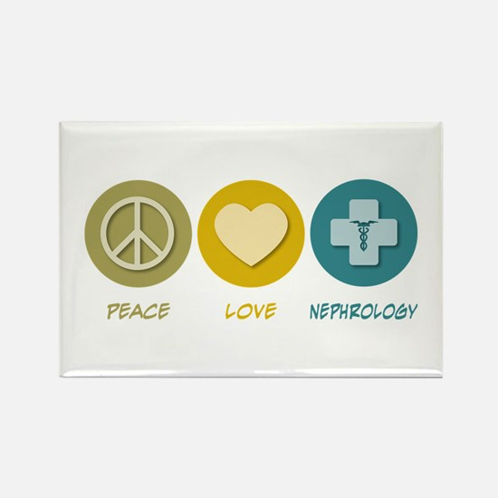 Peace Love Nephrology Rectangle Magnet