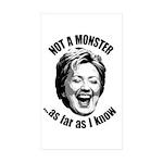 Hillary - Not A Monster Rectangle Sticker 50 pk)