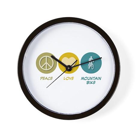 Peace Love Mountain Bike Wall Clock