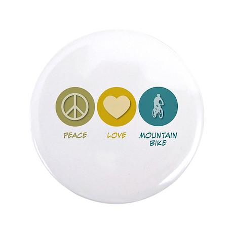 """Peace Love Mountain Bike 3.5"""" Button"""