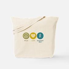 Peace Love Mountain Bike Tote Bag