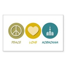 Peace Love Mormonism Rectangle Decal