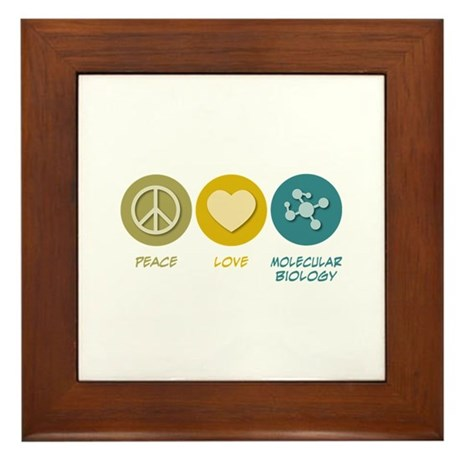 Peace Love Molecular Biology Framed Tile