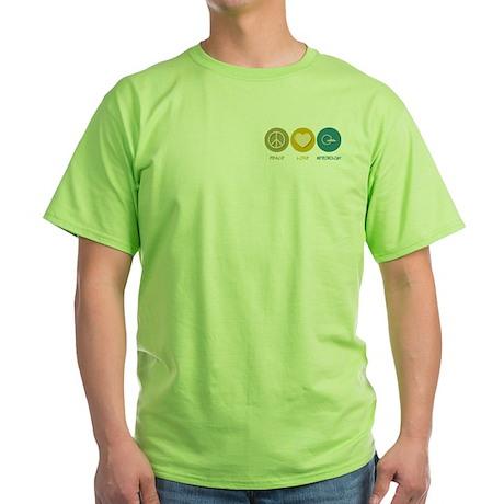 Peace Love Meteorology Green T-Shirt