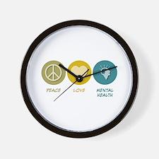 Peace Love Mental Health Wall Clock
