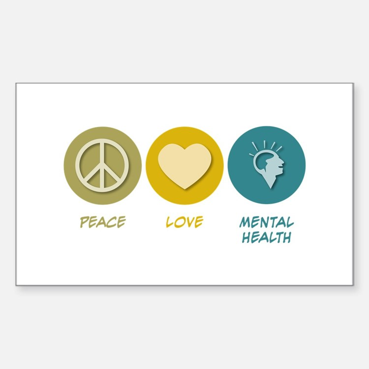 Peace Love Mental Health Rectangle Sticker 10 pk)