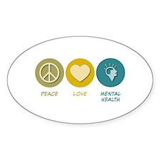 Peace Love Mental Health Oval Sticker (10 pk)