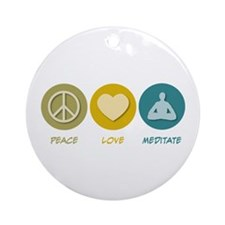 Peace Love Meditate Ornament (Round)