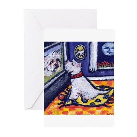 Westie watches TV Greeting Cards (Pk of 10)