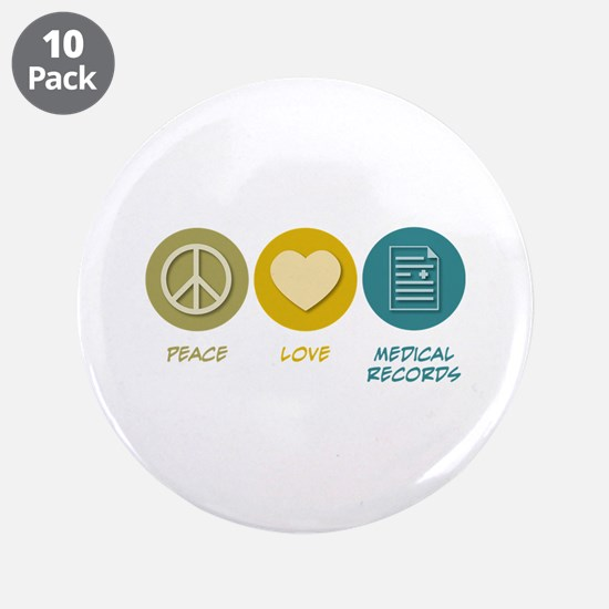 """Peace Love Medical Records 3.5"""" Button (10 pa"""