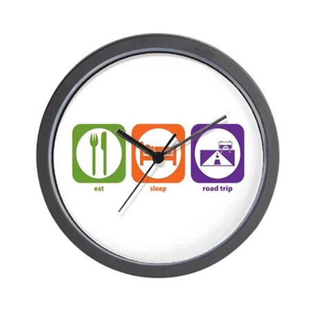 Eat Sleep Road Trip Wall Clock