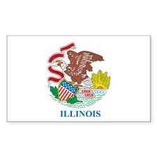 ILLINOIS-FLAG Rectangle Decal