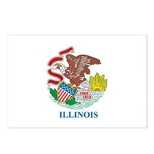 ILLINOIS-FLAG Postcards (Package of 8)