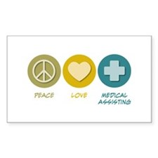 Peace Love Medical Assisting Rectangle Decal