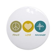 Peace Love Massage Ornament (Round)