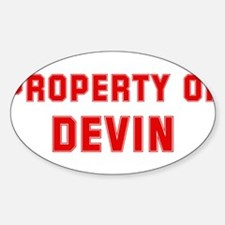 Property of DEVIN Oval Decal