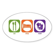 Eat Sleep Read Oval Decal