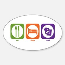 Eat Sleep Read Oval Decal