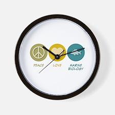 Peace Love Marine Biology Wall Clock