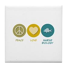 Peace Love Marine Biology Tile Coaster