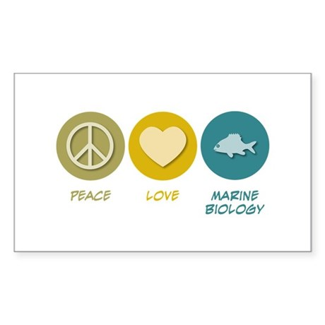 Peace Love Marine Biology Rectangle Sticker