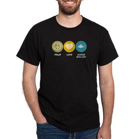 Peace Love Marine Biology Dark T-Shirt