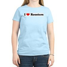 I Love Roosters Women's Pink T-Shirt