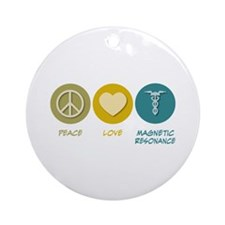 Peace Love Magnetic Resonance Ornament (Round)