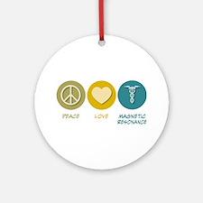 Peace Love Magnetic Resonance Ornament (Round)