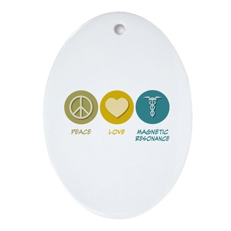 Peace Love Magnetic Resonance Oval Ornament