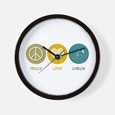 Peace Love Lyrics Wall Clock