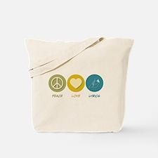 Peace Love Lyrics Tote Bag