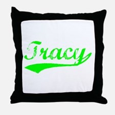 Vintage Tracy (Green) Throw Pillow