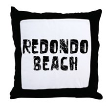 Redondo Beach Faded (Black) Throw Pillow