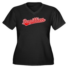 Retro Papillion (Red) Women's Plus Size V-Neck Dar