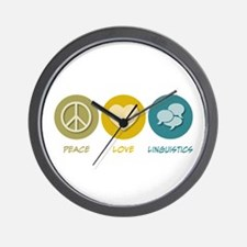 Peace Love Linguistics Wall Clock