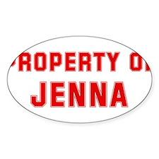 Property of JENNA Oval Decal