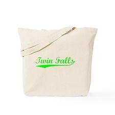 Vintage Twin Falls (Green) Tote Bag