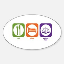 Eat Sleep Patent Law Oval Decal