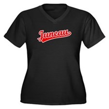 Retro Juneau (Red) Women's Plus Size V-Neck Dark T