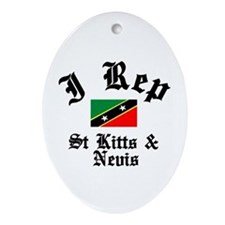 I rep St Kitts Oval Ornament