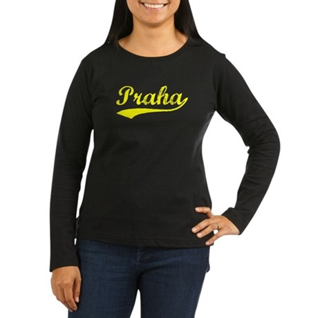 Vintage Praha (Gold) Women's Long Sleeve Dark T-Sh