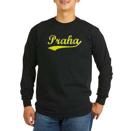 Vintage Praha (Gold) Long Sleeve Dark T-Shirt