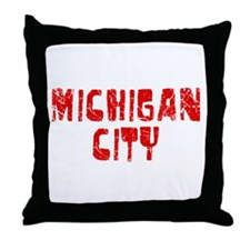 Michigan City Faded (Red) Throw Pillow