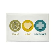 Peace Love Lifeguard Rectangle Magnet