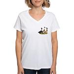 Crested Ducks Trio Women's V-Neck T-Shirt