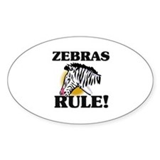 Zebras Rule! Oval Decal