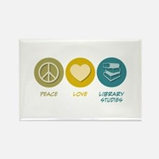 Peace Love Library Studies Rectangle Magnet