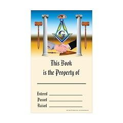 Masonic Book PLate Rectangle Sticker 10 pk)